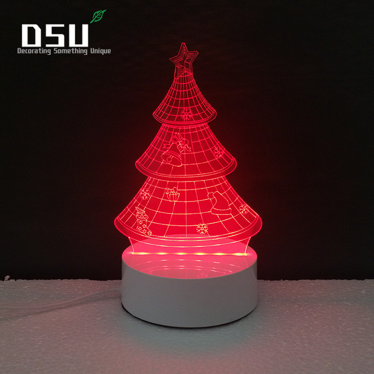 Christmas Tree 3D Glow LED Lighting Toys Night Light with 7 Colors Changing Xmas Lamp with Remote Control