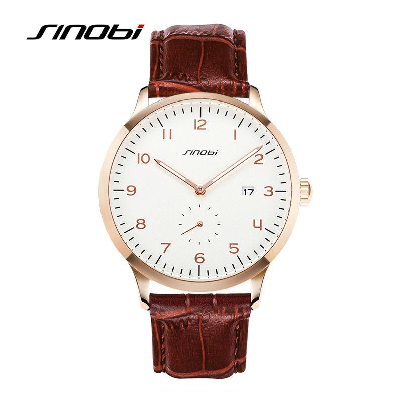 Prix pour SINOBI Classique Hommes de Montres Bracelet En Cuir D'affaires de Causalité Hommes Genève Horloge À Quartz Top Marque De Luxe Montres Hommes