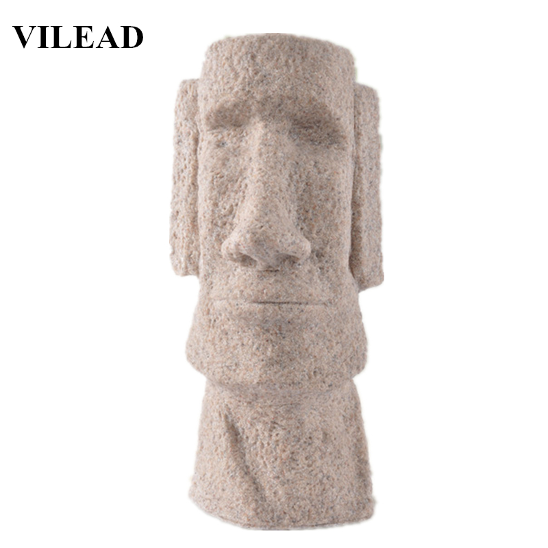 """VILEAD 4.9"""" 9.4"""" Sandstone Stone Easter Island Moai Statuettes Pukao Figurines Easter Day Sculptures Creative Vintage Home Decor