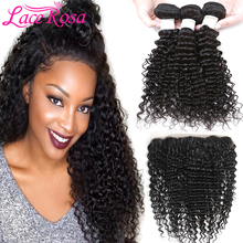 "3 Bundlar Brasilian Deep Wave Hair With Front 13x4 ""Human Curly Bundles With Closure Lace Rosa Brasilianskt Deep Curly Hair Remy"