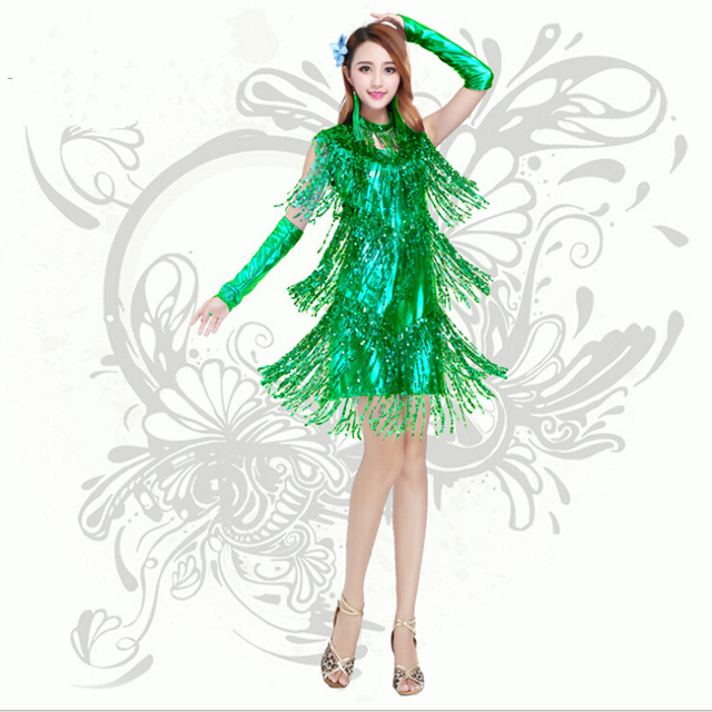 8caee2871134 New Arrival Sequin Tassel Latin Dance Skirt Dress Nice Sexy Fringe Stage  Performance Wears women Bling Latin Party Clothing