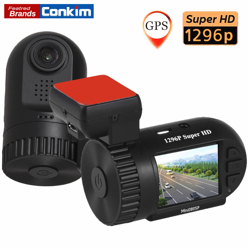 conkim mini 0805p auto dash camera gps recorder 1296p 1080p full hd dvr capacitor hidden car cam. Black Bedroom Furniture Sets. Home Design Ideas