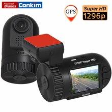 """Conkim Mini 0805 P Auto Aparat Kreska GPS Rejestrator 1296 P 1080 P Full HD DVR Kondensator Ukrytych Samochodów Cam Registrator 1.5 """"Czarna Skrzynka samochodu"""