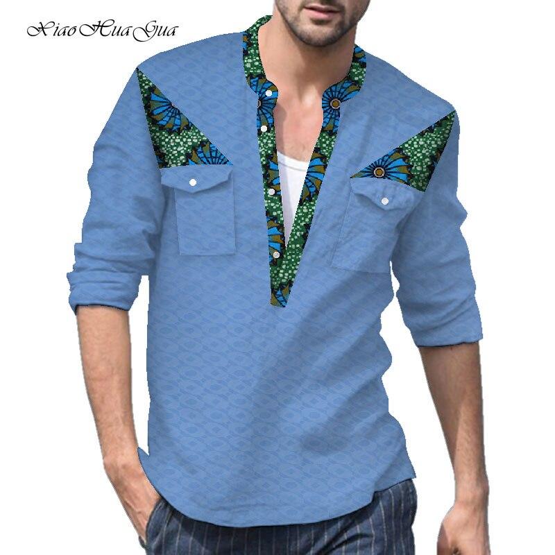 3 quarts t-shirts hommes africains t-shirts haut t-shirts Bazin Riche vêtements africains coton Dashiki vêtements africains casual WYN869
