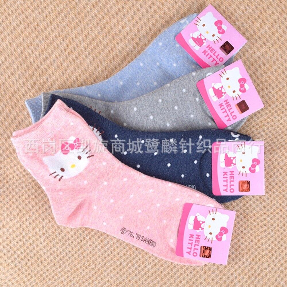Anime Hello Kitty   socks   cute funny sweet cartoon women   sock   autumn winter comfortable happy cotton pink gray chaussettes femme