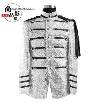 Men royal loading formal dress costume performance wear men's clothing dj paillette silvery white Stage performance