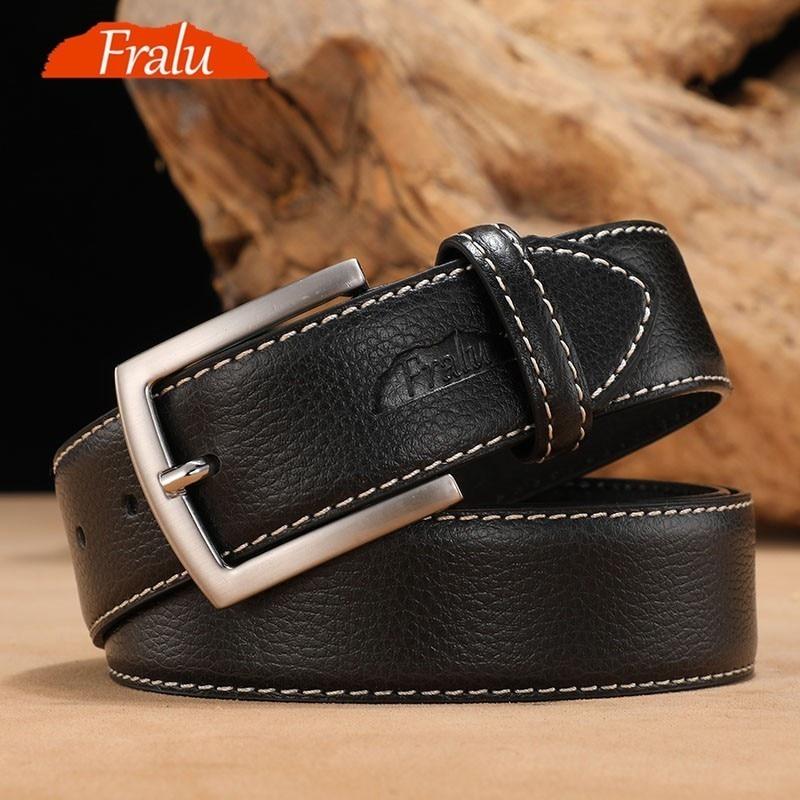 FRALU Men High Quality Genuine Leather Belt Luxury Designer Belts Men Cowskin Fashion Strap Male Jeans For Man Cowboy