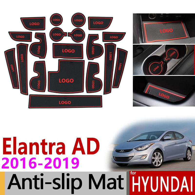Anti-Slip Gate Slot Mat Rubber Coaster for Hyundai Elantra 2016 2017 2018 2019 AD Avante Super Elantra Sport Accessories Sticker