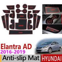 Tapis anti-dérapant en caoutchouc pour tapis de porte Hyundai Elantra 2016 2017 2018 2019 autocollant accessoires de Sport AD Avante Super Elantra