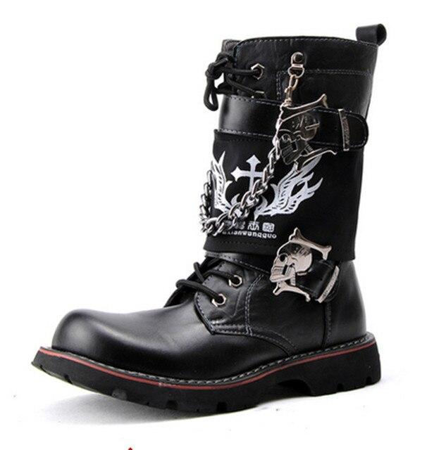 Nuevo 2016 Mens Punk Rock Remache Gruesa Suela de Cuero Suave Martin botas de Moda las Botas A Media pierna Botas Militares Calientes Negro de La Motocicleta botas