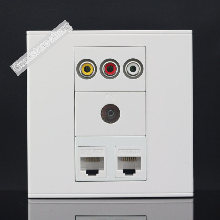 Wall Plate 4 Ports 2 Port CAT5E Network LAN & One Port TV Socket & One 3RCA AV Port Outlet Panel Faceplate Home Wholesale Lots цена 2016