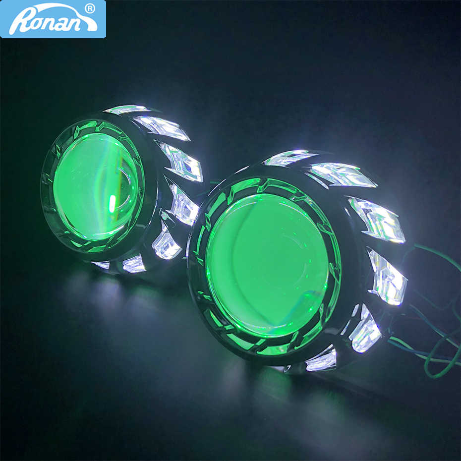 RONAN 3.0 Full metal Super Bi-xenon HID Projector Lens H1 H4 H7 RGB 360 Devil eyes car styling retrofit  Car headlight