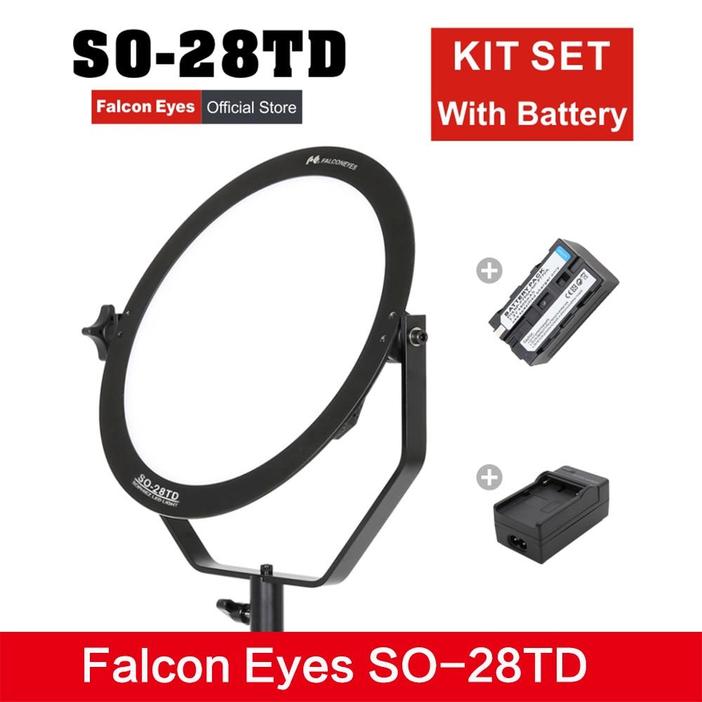 Falcon yeux kit de SO-28TD ensemble lumière vidéo 28 W led panneau lampe ronde douce Studio lumière pour film publicité prise de vue photographie