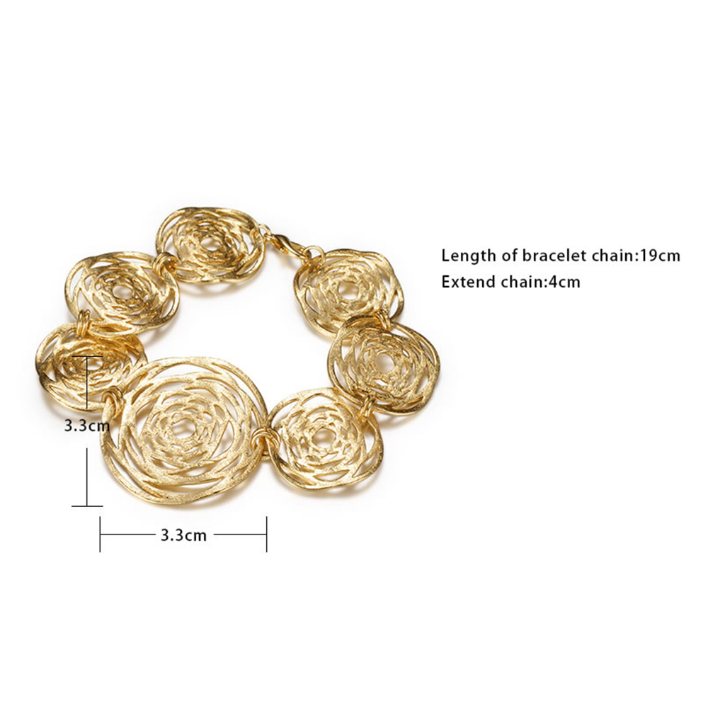 hollow link product curb wide rounded gold bracelet yellow