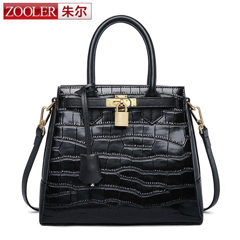 ZOOLER Newest Luxury Fashion Classic 100% Genuine Leather Women Bag Famous Cowhide Ladies' Tote Bag Platinum Lock Clutch bag 2017 classic fashion 100