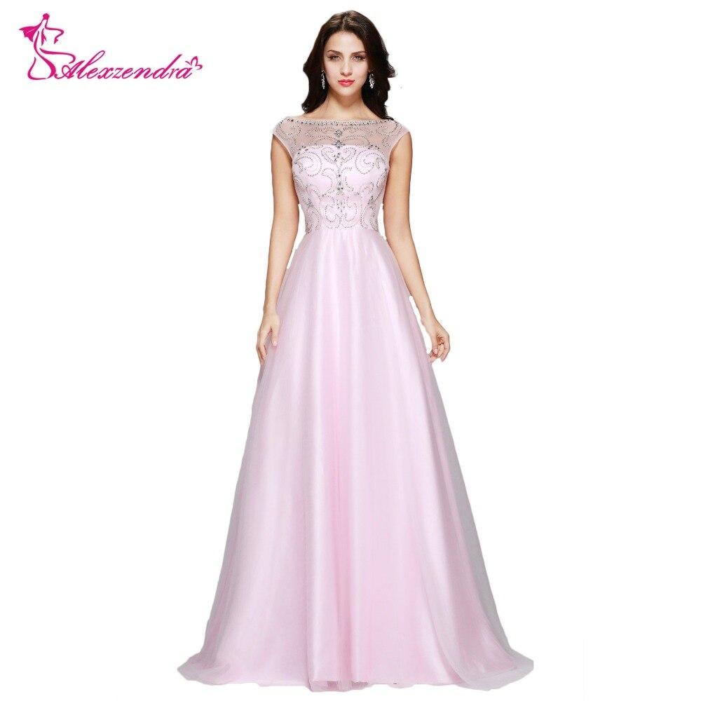 Alexzendra perles V dos rose robe Tulle longues robes de bal robe de soirée Simple fête robes de grande taille robe