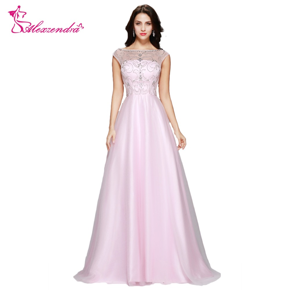 Alexzendra Beads V Back Pink   Dress   Tulle Long   Prom     Dresses   Evening Gown Simple Party   Dresses   Plus Size   Dress