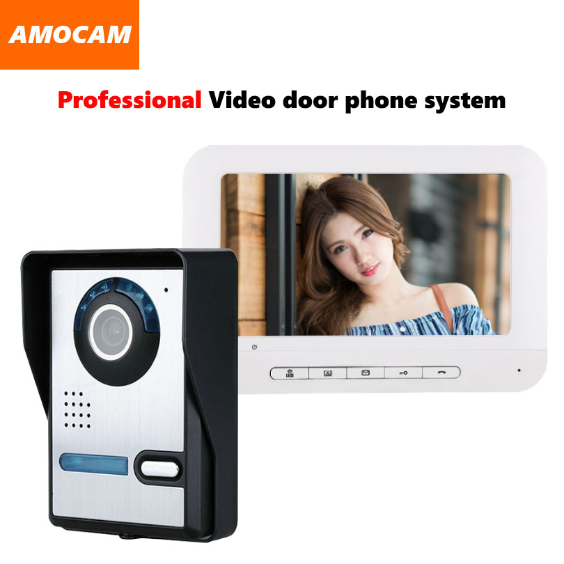 7 Monitor Video Doorbell Door Phone Kit IR Night Vision Door Camera Video Intercom interphone system for home villa diysecur 7inch video door phone doorbell video intercom metal shell camera led night vision 1 monitor black for home office