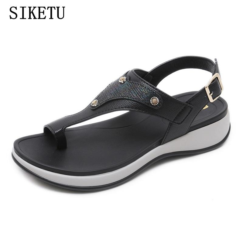 SIKETU 2018 Summer Sandals Women Fashion Flip Flops Flats Sandals Ladies Soft PU Leather Comfortable Sandals