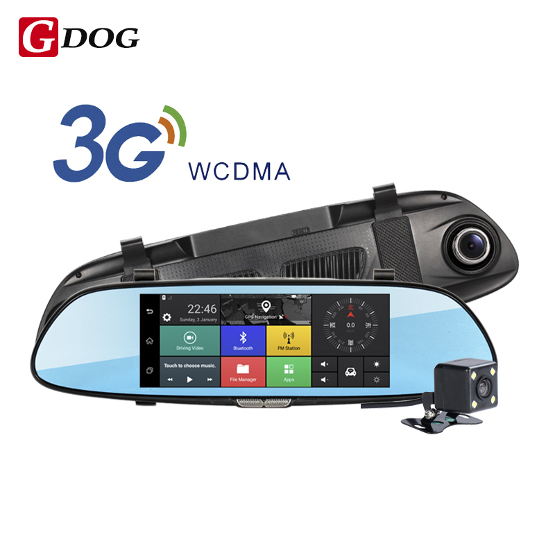Android 5.0 car dvr 7.0 IPS touch screen wireless 3G camera 3G WCDMA B1 (2100) dual lens camera rearview mirror Gps navigation