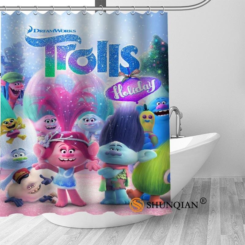 trolls Bath Curtain 100% polyester Fabric Shower Curtain bathroom beautiful Bath decor Print your picture
