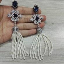 luxury bohemia boho 8 rows pearl beads tassel cz zircon dark blue crystal bird cage knot long dangle earring for women wedding