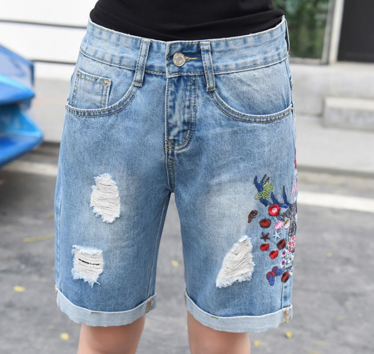 Knee length Denim shorts women's summer new embroidery hole loose
