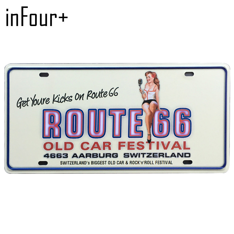 Old Car Festival License Plate Metal Plate Car Number Tin Signs Bar Pub Cafe Home Decor Metal Sign Garage Painting Plaques Signs