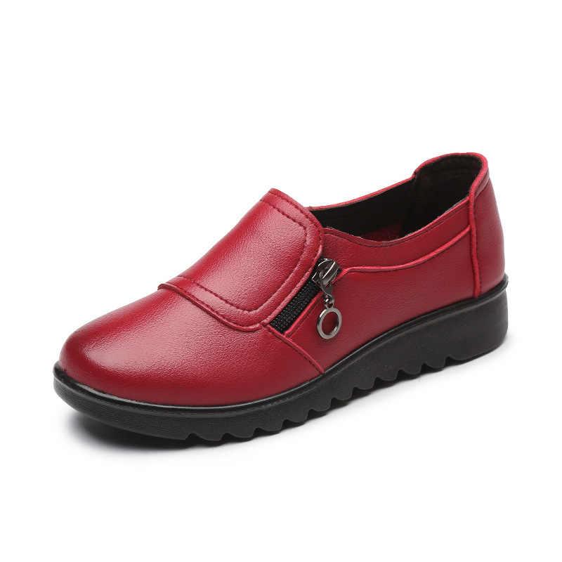 Moda Yumuşak Deri Yuvarlak Ayak Kadınlar Casual Flats Bayanlar Patchwork Yan Fermuar Düz Oxford Ayakkabı Yeni anne ayakkabısı
