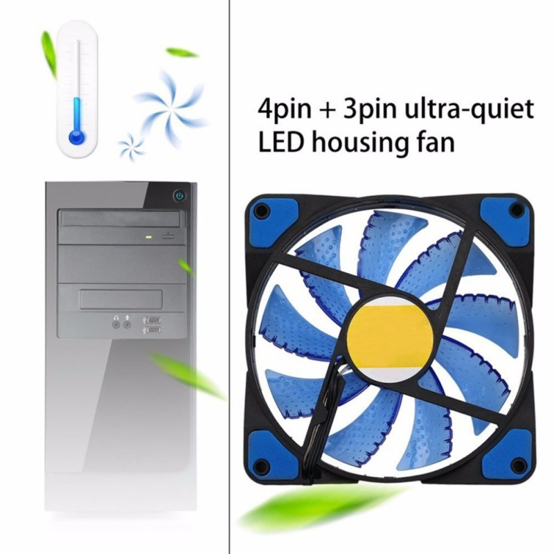 <font><b>120mm</b></font> 15 LED Ultra <font><b>Silent</b></font> Computer PC Case Cooling <font><b>Fan</b></font> <font><b>12V</b></font> With Rubber <font><b>Quiet</b></font> Molex Connector 3 / 4Pin <font><b>fans</b></font> Cooler Cpu Radiator image
