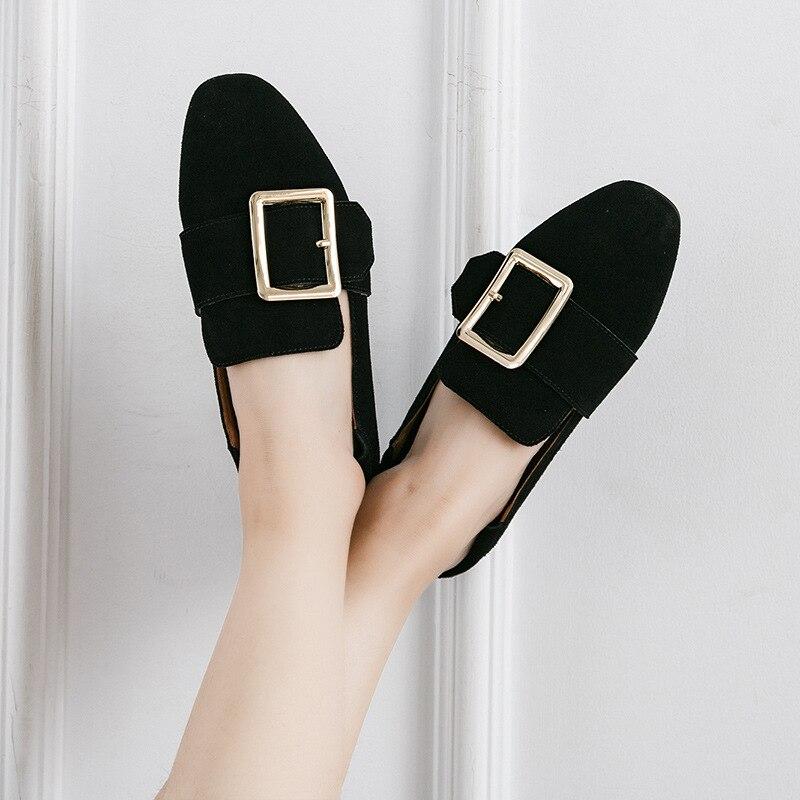 Genuino Planos 2019 Alpargatas Dedo Hebilla Señoras Cuadradas Zurriago Mocasines Metal Gamuza Cuero Del Negro caqui Zapatos Las La De Mujeres Iwggq41n