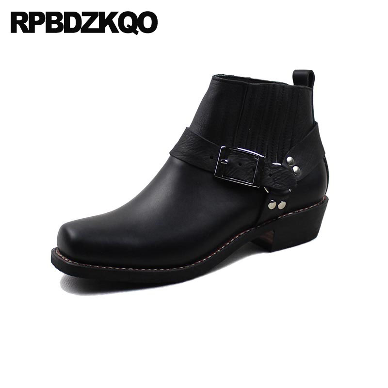 Harness Designer Shoes Men High Quality Black Booties Chunky Plus Size Boots Top Full Grain Genuine Leather Ankle Square Toe