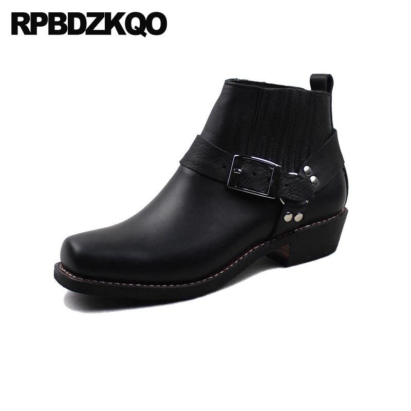 € 112.54 40% de DESCUENTO|Aprovechar Diseñador De Zapatos Los Hombres Alta Calidad Negro Botines Fornido Talla Extra Botas Cima Mas Piel Granos Piel