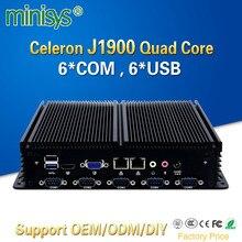 Minisys cheap fanless mini linux pc Intel celeron J1900 quad core barebone industrial computer embedded SIM