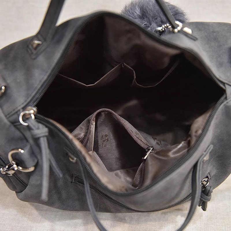 Vintage In Pelle Nabuk Borse Delle Signore Rivetto Più Grande Borse da Donna Capelli Palla Borsa Moto Borsa A Tracolla Messenger Bag Top-Handle Bag