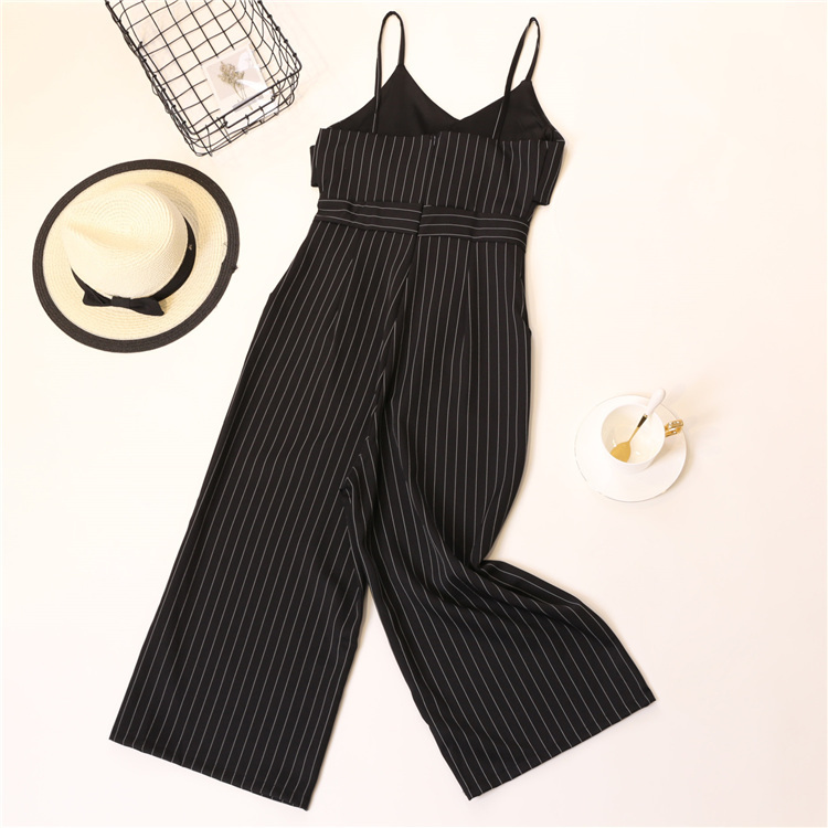 Summer Stripe Camisole Jumpsuit Women V-neck Striped Sexy High Waist Wide Leg Pants Office Ladies Red Black Overall Bodysuit 84