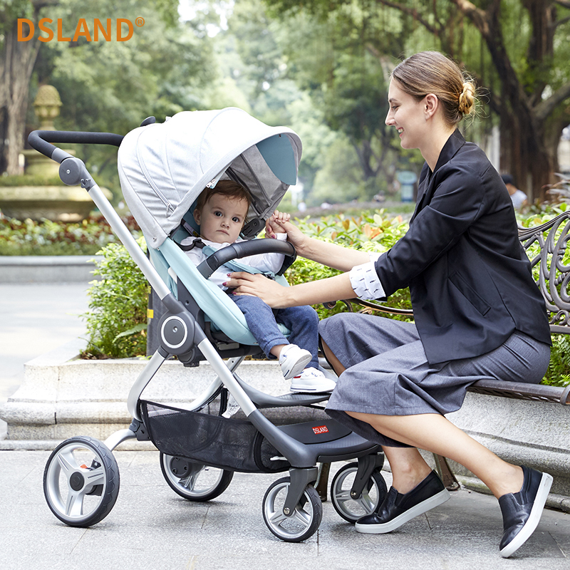 Dsland high landscape baby trolley 0-3 years old can be lying down two-way portable portable newborn trolley high profile baby trolley ultra light can be lying down two way four wheel shock baby trolley