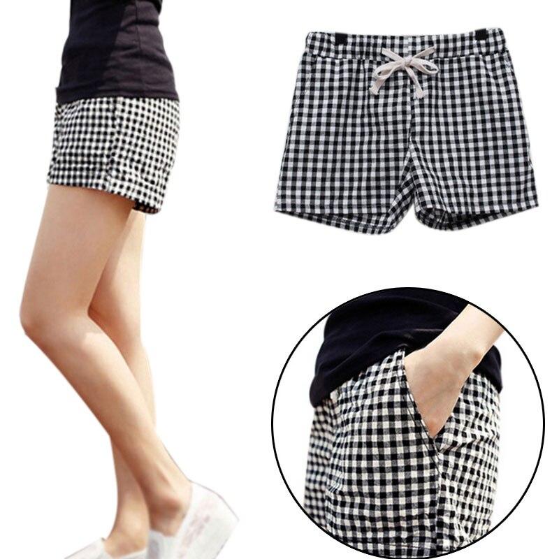 Женские клетчатые шорты, повседневные летние хлопковые шорты с эластичной талией, большие размеры 4XL, MSK66