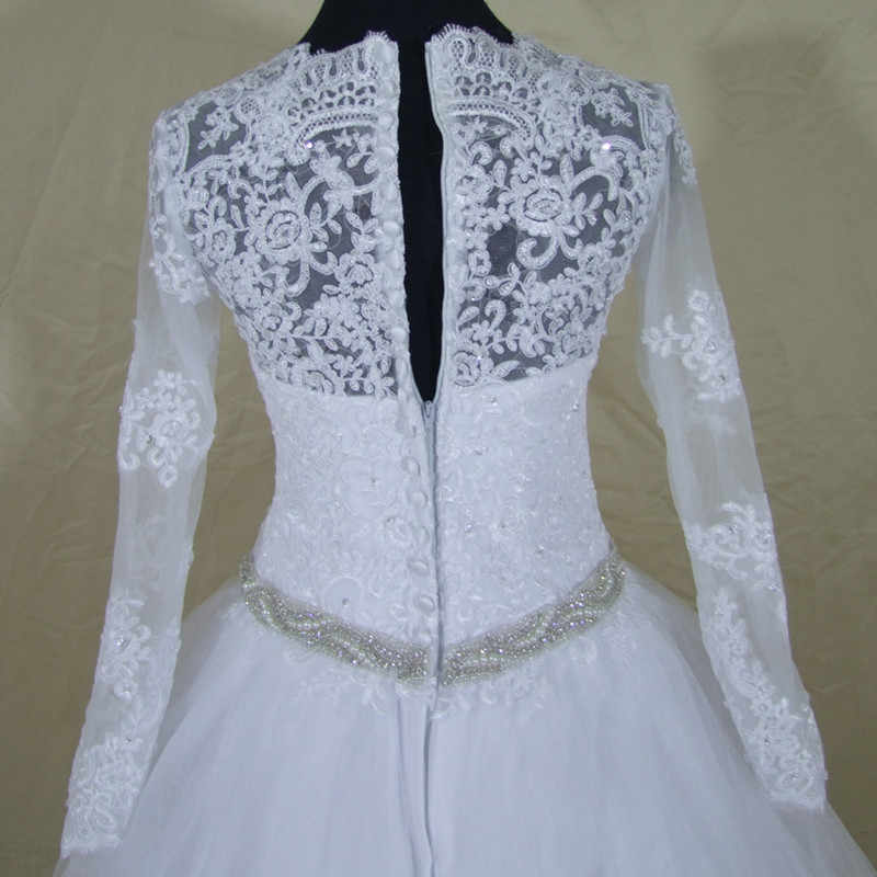 QQ Lover 2019 New Long Sleeve Lace Wedding Dress With Bow  Robe De Mariage Bride Dress