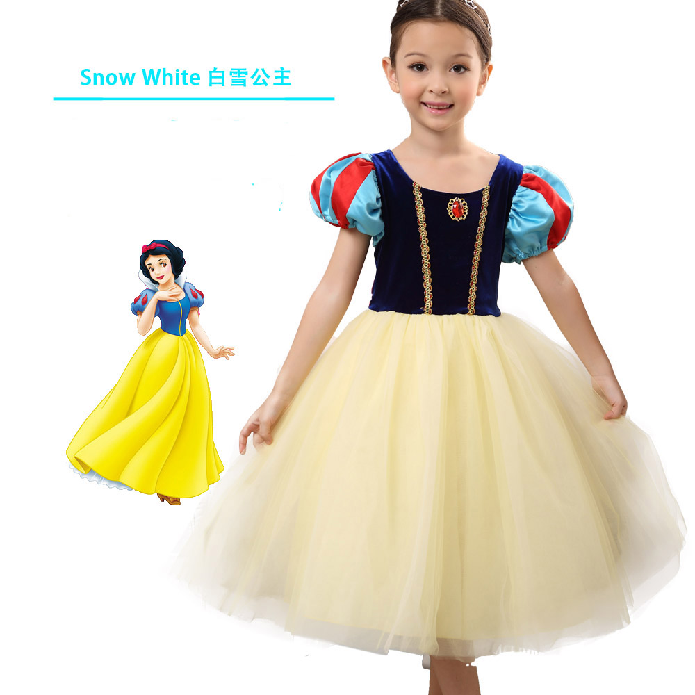 Christmas Gift Girls Snow White Princess Dresses Kids Girls Halloween Party Cosplay Dresses Costume Children Girl Clothing