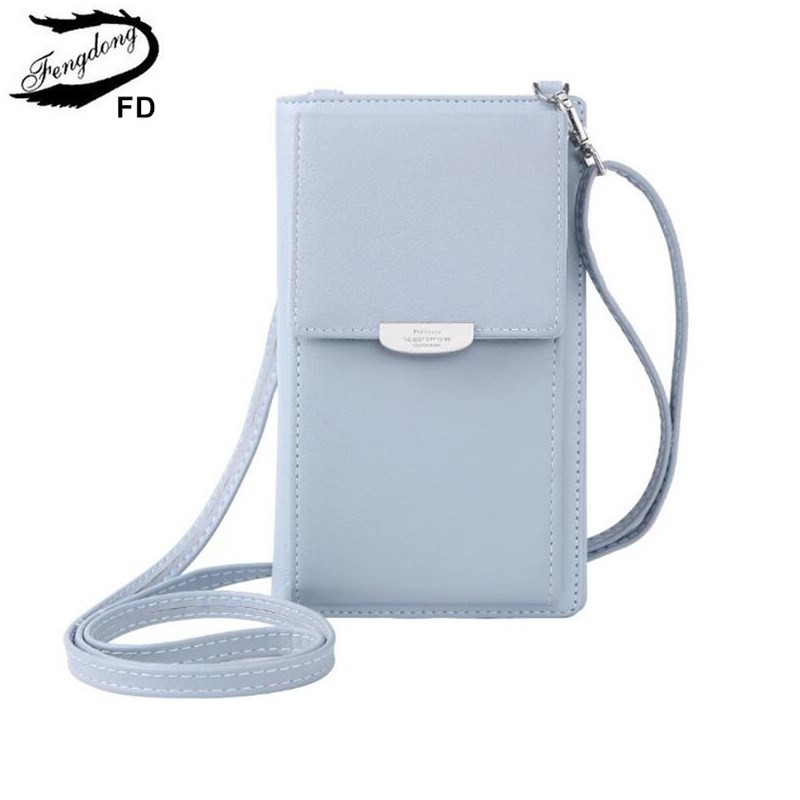 FengDong Mini Crossbody Phone Bag With Shoulder Strap Women Leather Purse Female Long Wallet For Credit Cards Gifts For Girls