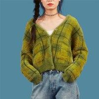 Runway 2018 Vintage unif plaid cropped Cardigans green sweater Button Blusas De Inverno Feminina Cardigan Feminino