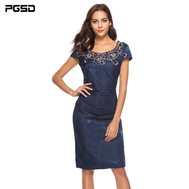 PGSD Summer Office lady Elegant female mid length O Neck Short sleeved Rose Lace Flower printing Pencil Dress women clothes XXXL in Dresses from Women 39 s Clothing