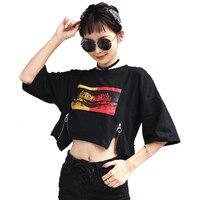 Harajuku Casual t Shirt Women Summer Top Cropped Streetwear Tshirt Hip Hop Korean Style Crop Top Plus Size Women Clothing 50F047