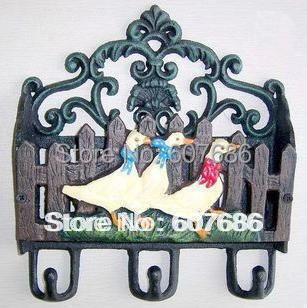 Country Rusty Cast Iron Wall Mail Letter Magazine Key Rack Holder Hooks 3  Ducks Office Organizer Storage Wall Mount Painted
