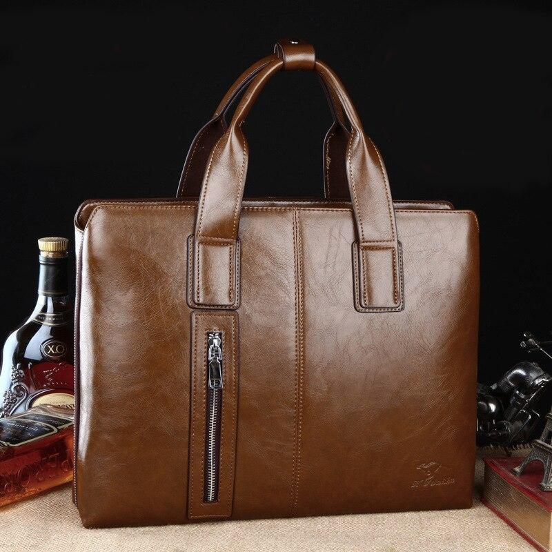 Kangaroo Hot Sell Brand Genuine Leather Vintage Soft Cowhide Leather Men Messenger Bag Mens Travel Bag Mens Computer Briefcase