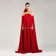 Nach Maß Rotes Chiffon Muslimischen Stil Abendkleid Dubai Kaftan Abaya Arabisch Formale Kleid