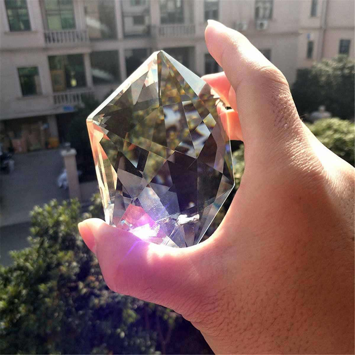 100 мм шестизвездная форма большая прозрачная кристальная Подвеска для люстры Ламповые призмы части Висячие капли круглый кристалл Радужный подсолнух