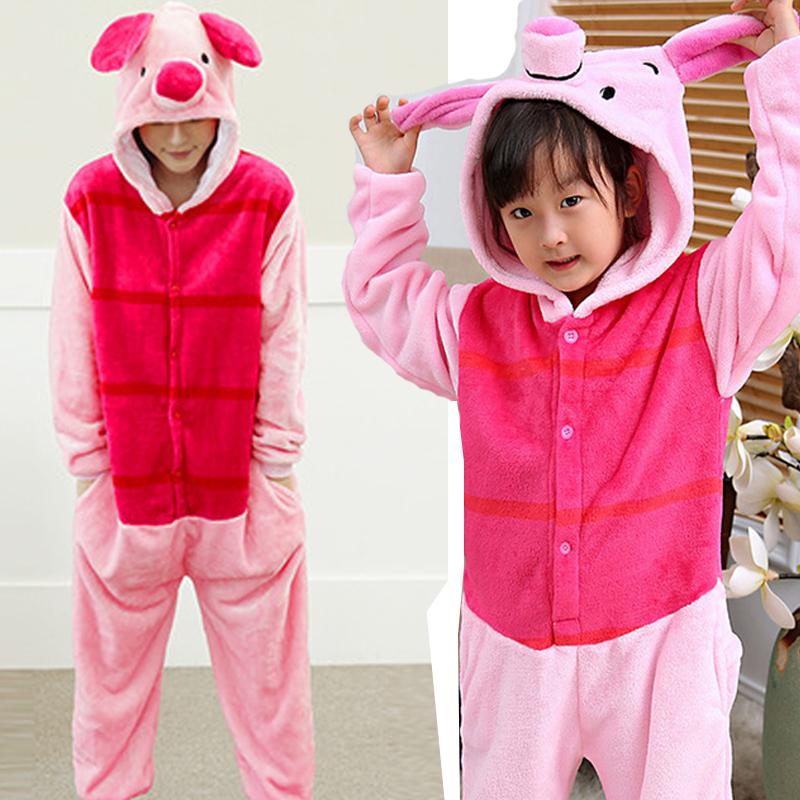 Family Matching Outfit Piglet Pig Overalls Jumpsuit Flannel Adult Children Cosplay Costume Kigurumi Onesie Blanket Sleepers