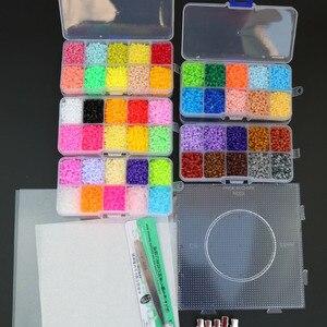 Image 2 - Mini perles de jouets EVA Hama, 2.6mm, PUPUKOU bricolage, gabarit contenant Tangram, Puzzle avec outils, perler Puzzle, jouets pour enfants, brinquegos